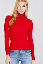 Viscose Rib Turtle Neck Sweater by Active™/ Wear Alone or Layered/New