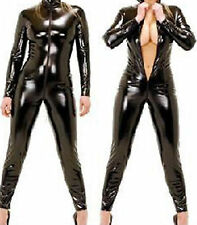 Latex Look Black Catsuit Jumpsuit Crotch Zip Long Sleeves High Neck (Faux Latex)