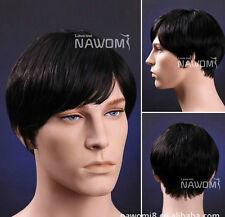 Realistic handsome short straight hair wig upscale men's wigs