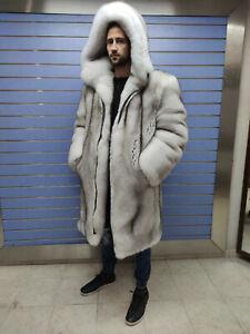 """Luxury Full Skin Doublesided """"Blue"""" Fox Fur Mens Coat Real Fur White Fox Hood"""