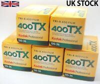 5 Pack: Kodak Tri-X 400 TX 35mm 36 captures ISO400 NOIR ET BLANC Film Négatif