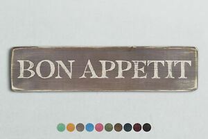 BON APPETIT Vintage Style Wooden Sign. Shabby Chic Retro Home Gift