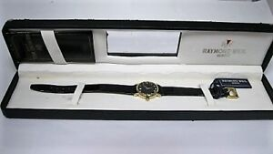 RARE RAYMOND WEIL WOMENS MINI SIZE 18CT GOLD PLATED WATCH BOXED  LEATHER STRAP