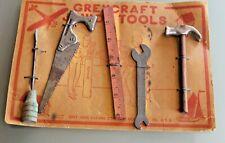 Spielzeug Antik Anzeige Karton 5 Werkzeuge U.S.A Junior Tools 1940 Grey Iron C