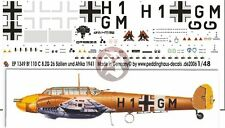 Peddinghaus 1/48 Bf 110 C Markings 8./ZG 26 Sicily & North Africa 1941 WWII 1349