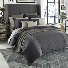 BEEKMAN 1802 Granby KING DUVET COVER NWT Blue Grey HERRINGBONE Menswear Stripe