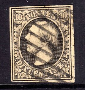 LUXEMBOURG 1852-8 10c BLACK USED, JUST FOUR MARGINS, SG 1