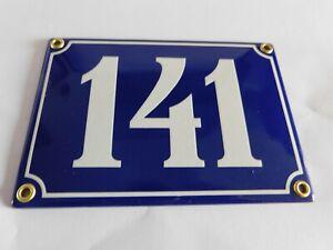 Antique French Blue  Genuine Enamel Porcelain House Door Number Sign / Plate 141