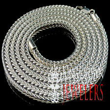 MENS WOMENS WHITE GOLD FINISH FRANCO CUBAN CURB BOX NECKLACE CHAIN 36  INCH 3MM