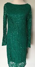 NEW Marina Long Sleeve Lace Sequin Emerald Dress Size 10 $119 +Tax
