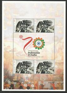 INDONESIA 2019 DIPLOMATIC RELATIONS WITH INDIA 70 YEARS SOUVENIR SHEET 4 STAMPS