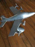 Metal Vintage Airplane Model Aviation Decor Silver Propeller Big Model Antique