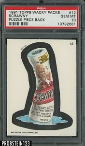 1991 Topps Wacky Packs Puzzle Piece Back #12 Scrawny PSA 10 GEM MT