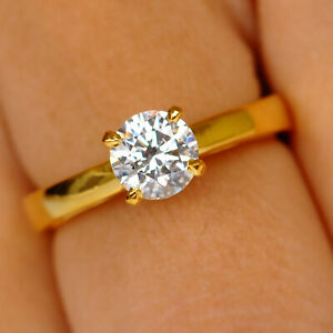 Finest 14KT Yellow Gold & D-Color 1.15 Carat Round Shape Solitaire Women's Ring