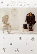 Augurano felicità per il tuo matrimonio biglietti d'auguri, abito e completo, nuovo