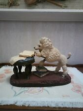Vintage Art Sculpture French Poodle Reading Books Centerpiece Base RARE Unique