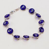 "6.75"", Mexico Sterling 925 Silver Handmade Bead Bracelet, Blue Evil Eye beads"