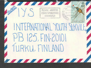 Seychelles 1997 air mail cover Victoria Mahe to IYS Turku Finland