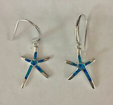 Sterling Silver 925 Opal Star Fish Hawaii Dangling  EARRINGS.