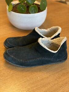 Sorel Men's Manawan Black Suede Slippers Moccasins Slip On Size 12