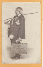 Real Photo Postcard RPPC - Humorous Character Osca Wadolph Large Clock Rifle
