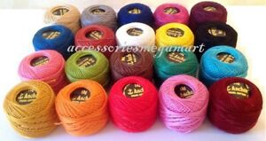 20 solid ANCHOR pearl cotton  Crochet size 8 thread ball, 85 Meters each