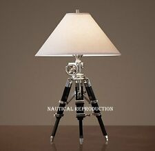 NAUTICAL CHROME VINTAGE TRIPOD TABLE LAMP BLACK TRIPOD LAMP STAND HAND MADE