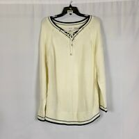 Calvin Klein Womens Ivory M9LS6730 Lace Up V Neck Pullover Sweater Size XL NWT