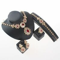 Wedding Accessories Jewelry Sets Ruby Crystal Bridal Necklace Earrings Ring