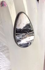 Big White Buffalo Sterling Silver Ring Will Denetdale Navajo sz 8.75 USA signed
