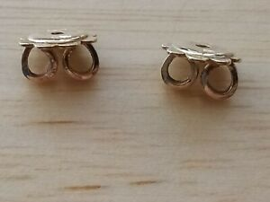 18ct Gold Large 6mm Butterfly Earrings Backs Not 9ct
