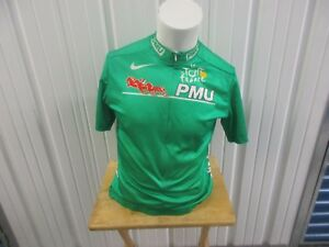 VINTAGE NIKE TOUR DE FRANCE PMU SPONSOR GREEN MEDIUM ZIP DRI-FIT CYCLING JERSEY