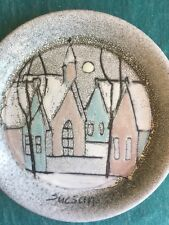 CHARLES SUCSAN ART POTTERY GLAZED MCM WALL PLAQUE CANADA QUEBEC WINTER HOUSE