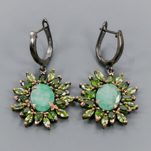 Emerald Earrings Silver 925 Sterling Jewelry SET Design  /E42385