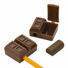Plastic Chocolate Bar Pencil Sharpeners With Eraser - 12 Pc.