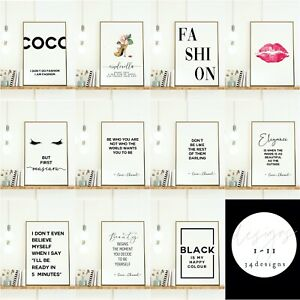 Fashion Beauty Wall Art Prints. Salon Designer Quotes Bedroom Pictures Make Up