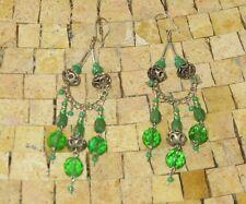 Bohemian Earrings, Filigree Silver Earrings, Green Dangle earrings, Berber Jewel