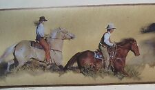COWBOY & COWGIRL CHASING HORSE Wallpaper Border 6 7/8""