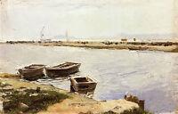 Oil painting three boats by a shore nice landsdcape  Joaquin Sorolla y Bastida