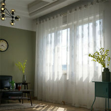 Modern Window Curtain Cotton Linen Tulle Voile Drape Panel Sheer Valances White