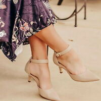 Women's Mid/High Heel Pumps Natural Shoes Pointed Toe Ankle Strap Wedding Party