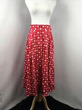Burberrys England Made Skirt Vintage Long Swing Red Silk Blend Sz S/M EUC