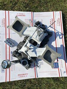 NEW NOS Edelbrock SB Chevy 2x4 Aluminum Intake Manifold C26 Dual Quad Carb 5425