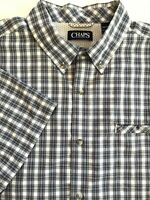 Chaps Men's Shirt, Sz XXL Easy Care Short Sleeve Button Down Blue/Gray Plaid