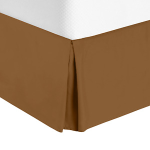 """Solid Luxury Pleated Tailored Bed Skirt - 14"""" Drop Dust Ruffle, Full XL - Mocha"""