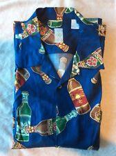 Burma Bibas Blue XL Hawaiian 100% Silk Short Sleeve Mens Shirt