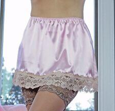 VTG Style Hand made PINK Mini SHINY LACY SATIN 2 Tone Half Sissy Slip Skirt  M L