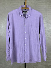 COMMANDER Herren Gr. L 41-42 Leinen Baumwolle Hemd Shirt lila langarm Flax 4C6