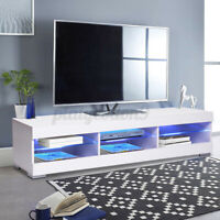 """WOODY 57"""" RGB LED TV Stand Cabinet Console w/ Glass Shelves Entertainment Center"""