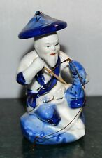 Vintage Chinese Figurine of Man Fishing  Blue White Gold Trim Asian Decor